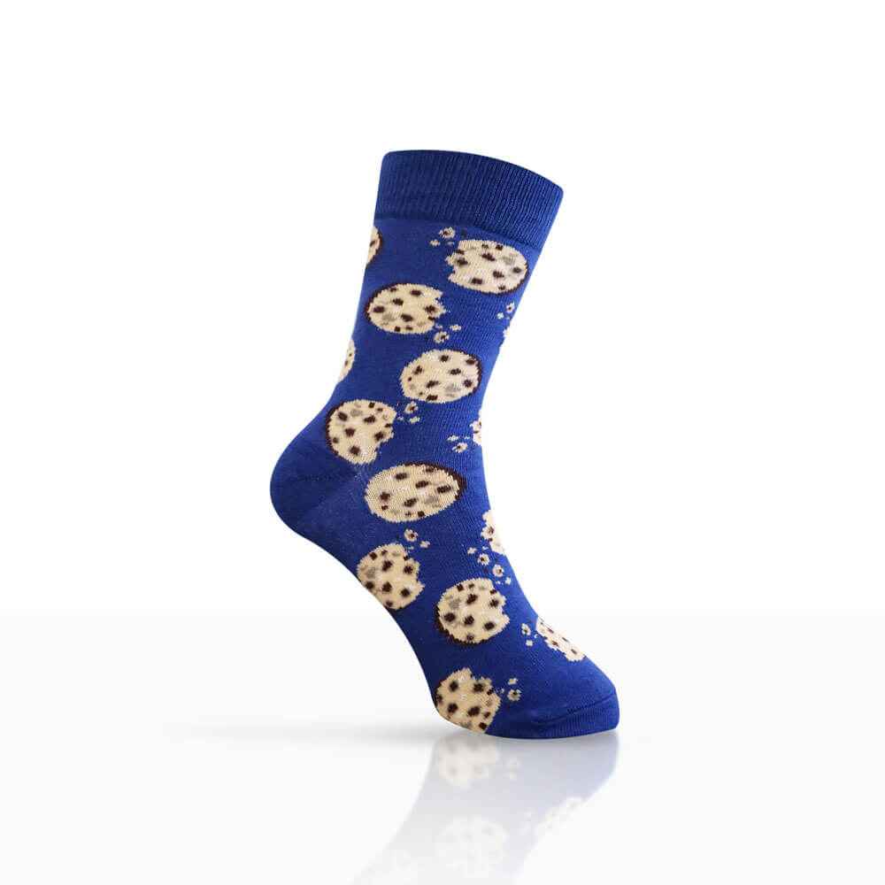 blue navy socks with cookies design