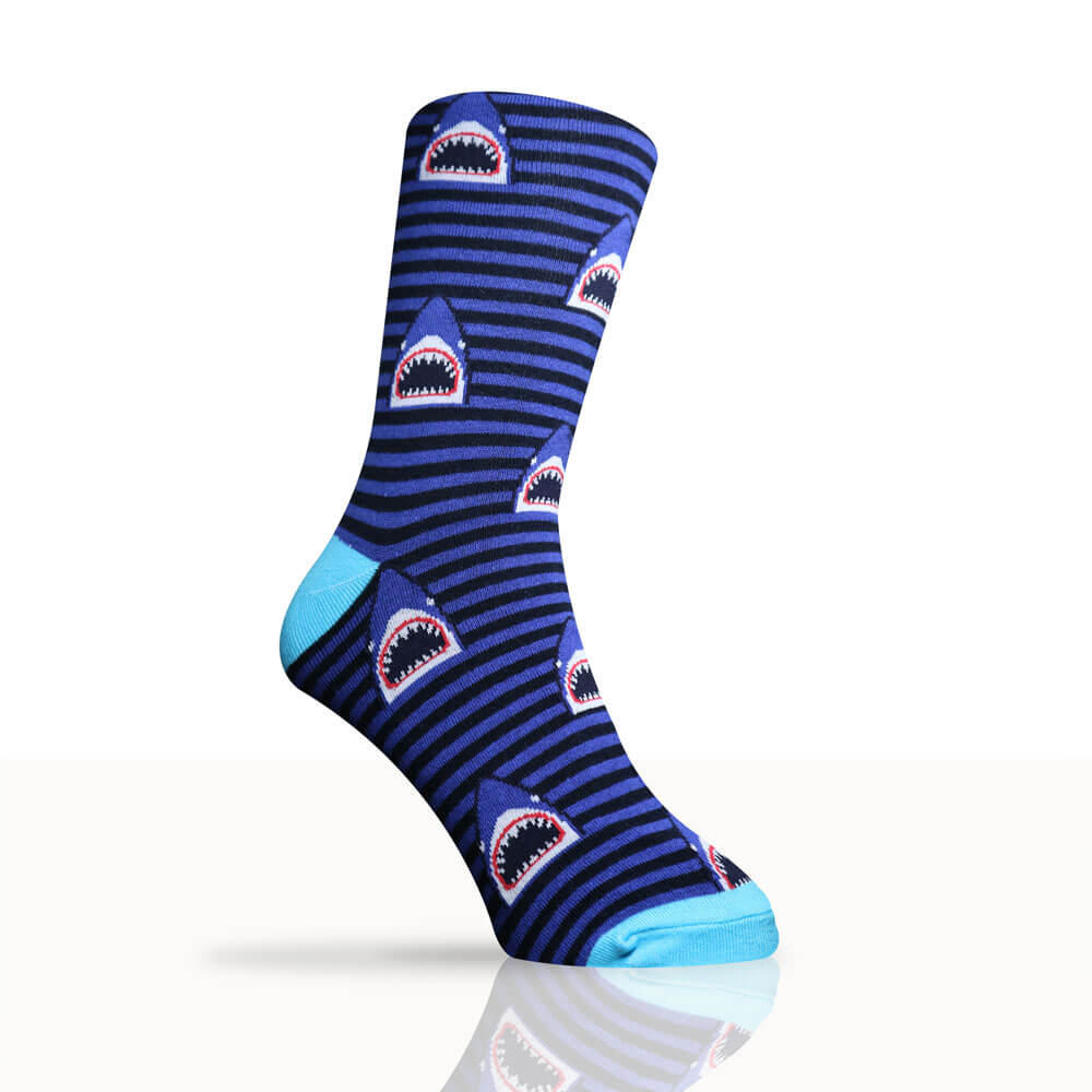 blue stripy socks with sharks