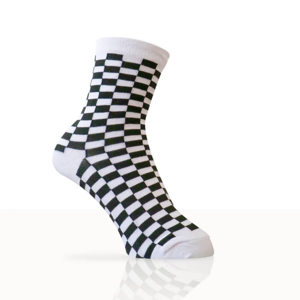 white checkered socks