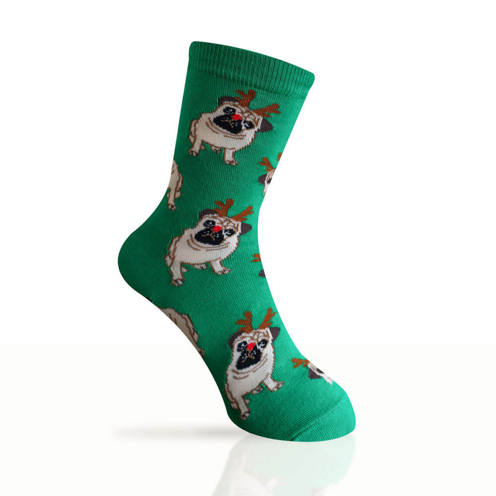 green socks with pugs wearing antlers and a red nose