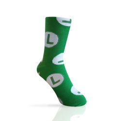 green socks with an l representing Luigi