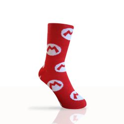 red socks with an m representing mario socks
