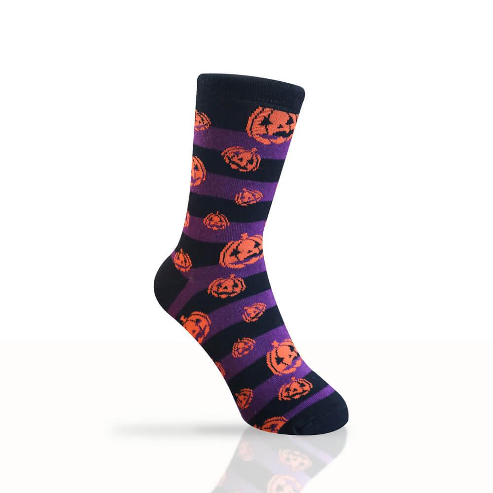 black socks with purple stripes and orange pumpkin pattern