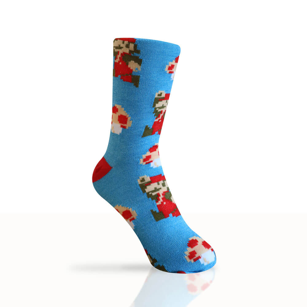 blue socks with pixelated pattern of super mario and mushrooms