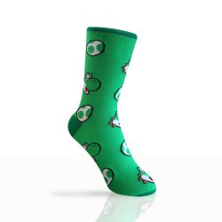green socks with yoshi and eggs pattern