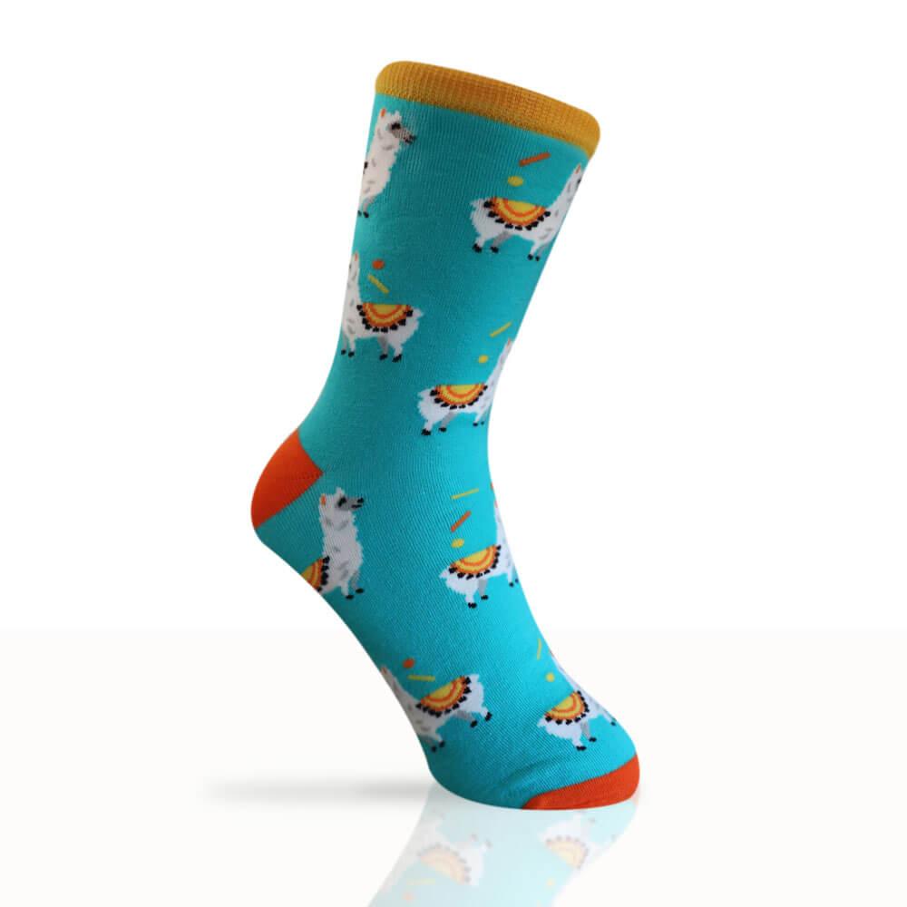 teal socks with alpacas