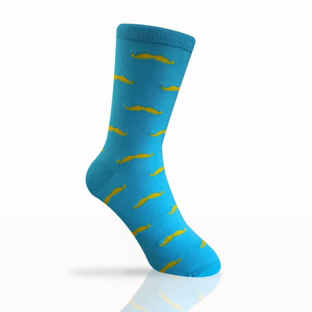 blue socks with yellow moustaches