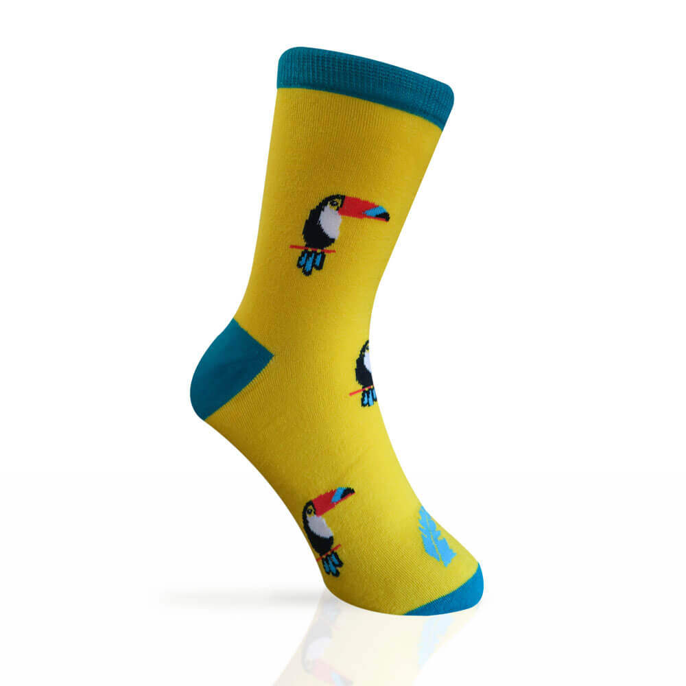 yellow socks with toucans