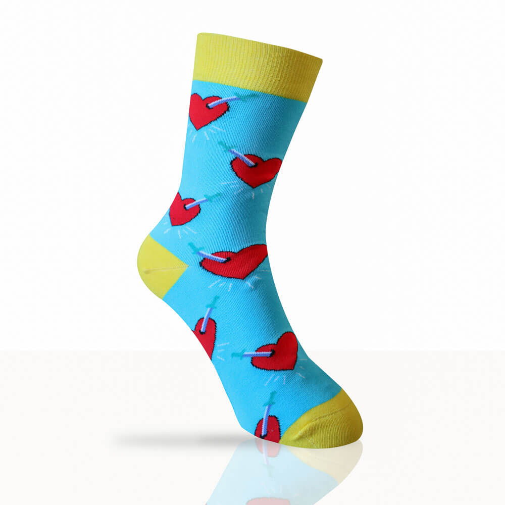 blue socks with red hearts and dagger