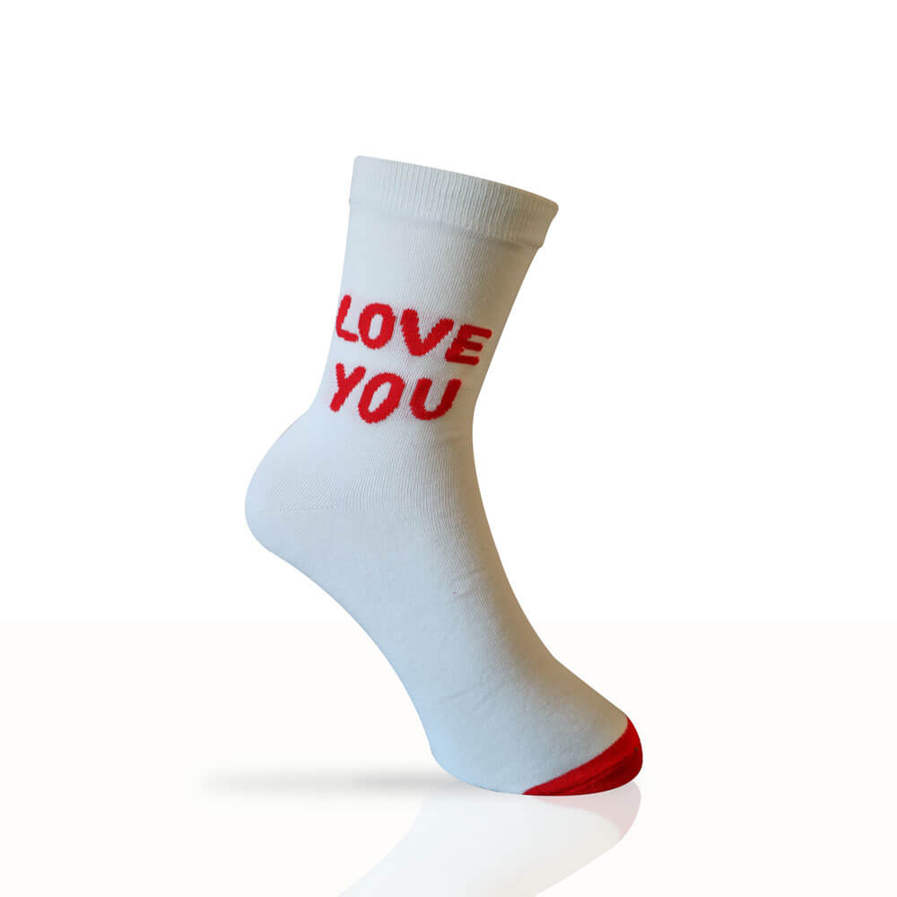white cotton socks with love you written on in red