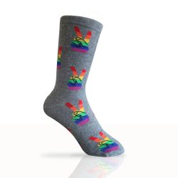Grey socks with rainbow peace signs