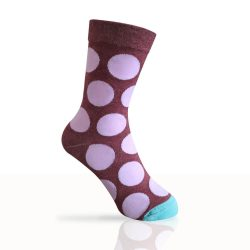 burgundy socks with pink spots