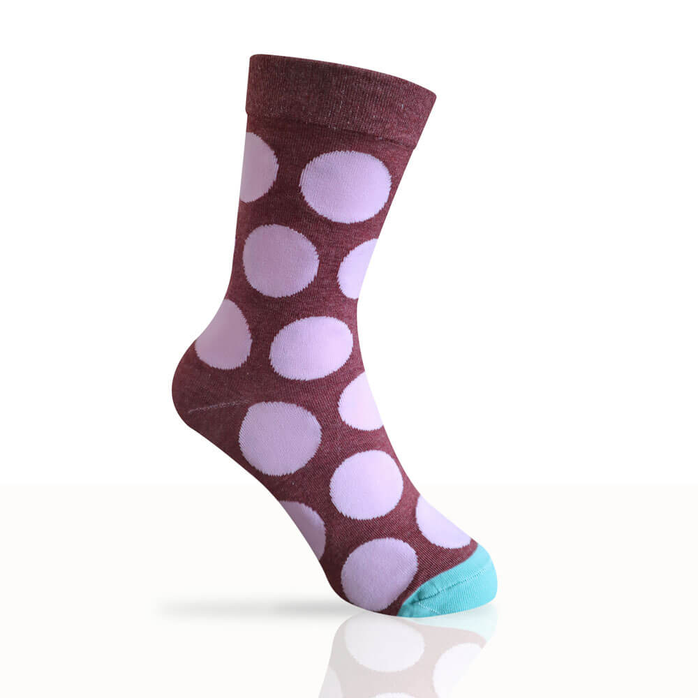 burgundy socks with pink spots