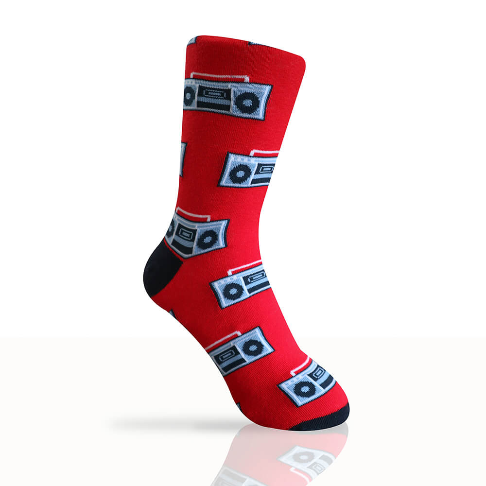 red socks with retro boombox designs