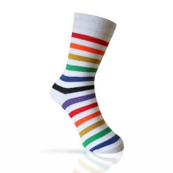 white socks with the rainbow stripes
