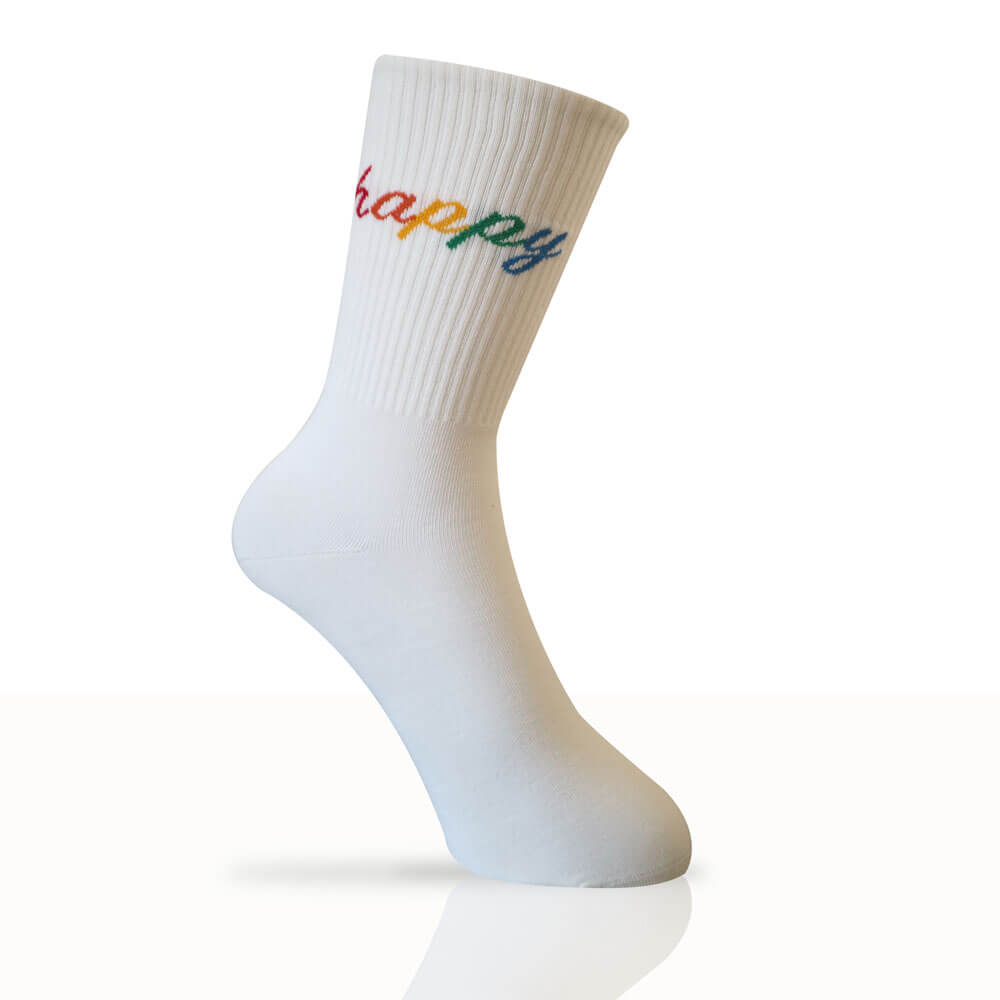 white socks with happy written in rainbow colours